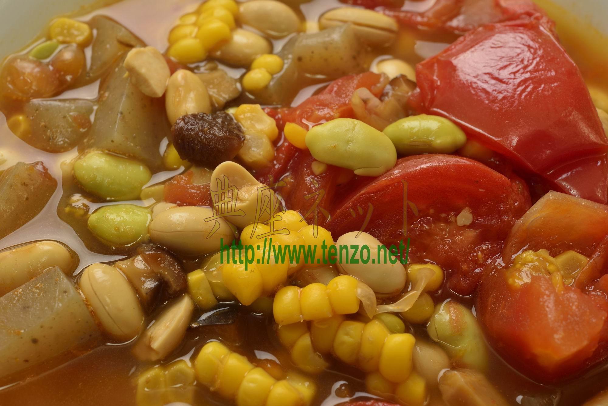 夏野菜と大豆のスープ