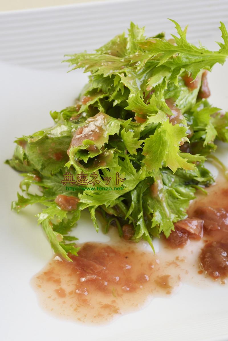 ワサビ菜の梅肉あえ